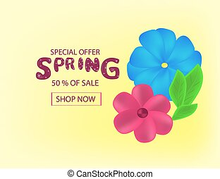 Spring Sale Background with  Colorful Flowers and leaves for you