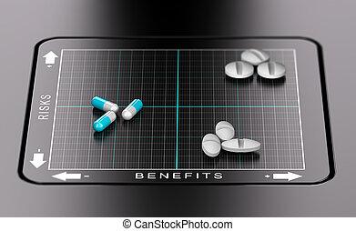 Risk Benefit Assessment of Drugs - 3D illustration of a...