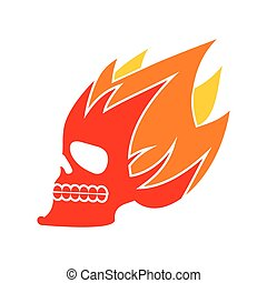 Skull fire. Head skeleton flame. flaming skull tattoo sign