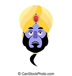 Genie sad Emoji. Magic ghost sorrowful emotion. Arabic magic...