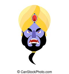 Genie angry Emoji. Magic ghost Aggressive emotion. Arabic magic spirit avatar