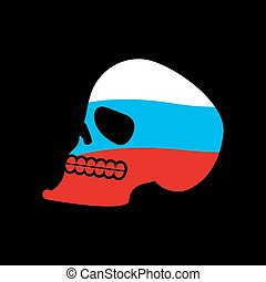 Russia skull. Head of skeleton and Russian flag. Fun emblem