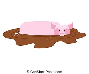 Pig in mud. piggy dirty puddle. Farm animal piglet