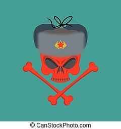 Skull in fur hat. Symbol of specter of communism. Red emblem of death