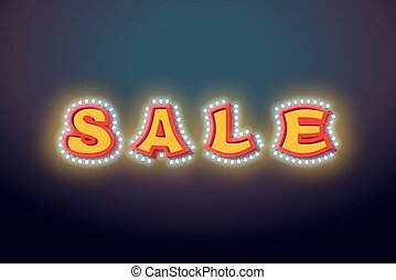 Sale light sign with lamps. discount letter Retro light bulb. Vintage banner Shiny lamps