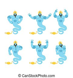 Genie set. Aggressive and good Magic ghost. Surprised and...