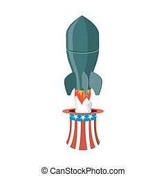 Missile USA. Rocket fly of hat Uncle Sam. American air bomb. America defense weapons