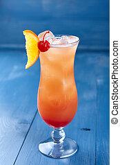 Alcoholic cocktails on blue background - Set of alcoholic...