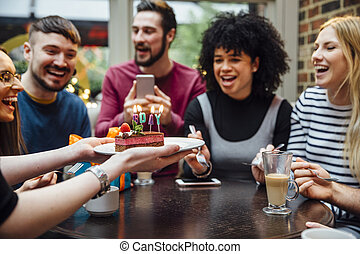 Blow The Candles Out! - Group of friends are in a bar...