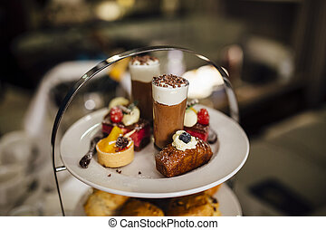 Afternoon Tea Treats - Close up shot of sweet treats on an...