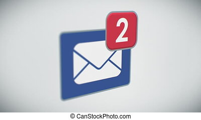 Beautiful Close-up of E-mail Inbox with Messages Counting Quickly. Many Letters Appearing in the Mailbox. 3d Animation. Perspective view with DOF Blur. Business and Technology Concept.