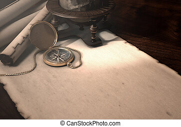 Exploration Table - A table layout of a vintage pocket...