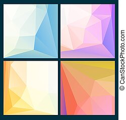 Set of low poly bright backgrounds. Vector illustration.