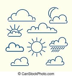 Cloud sun moon rain loutlined icon set. Meteo vector...
