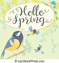 Hello spring with great tit. Cartoon bird. Hand letter....