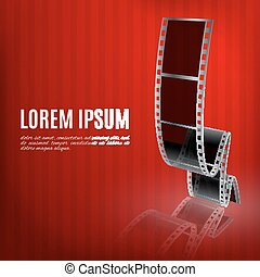 Filmstrip on a red background