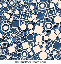 Abstract circles squares seamless pattern.  Decorative retro blue background.
