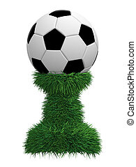 Soccer ball trophy on green grass pedestal
