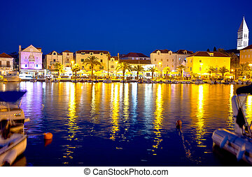 Supetar waterfront evening view from sea, island of Brac,...
