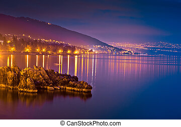 Kvarner bay evening view in Opatija, coastline of Croatia
