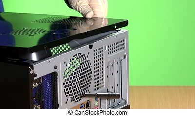 technician hands close computer case cover and screw bolts