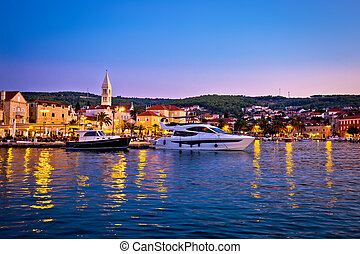 Town of Supetar waterfront evening view, Brac island,...