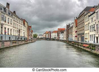 Brugge - Water canal in Bruges, Belgium Flemish architecture...
