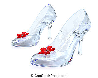 Crystal womens shoes with high heels and red flower on white...