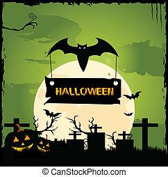 halloween night - illustration of bat holding halloween...