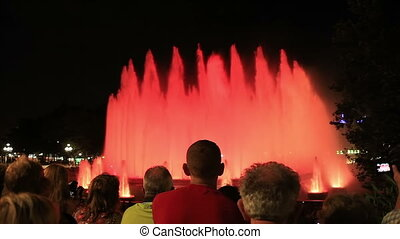 Singing fountains, Barcelona - Movie in the evening. Musical...