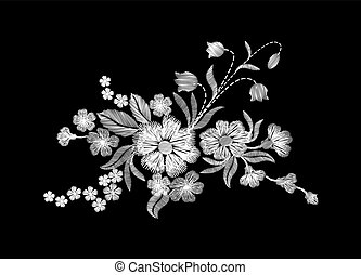 Embroidery white wild flowers on a black background....