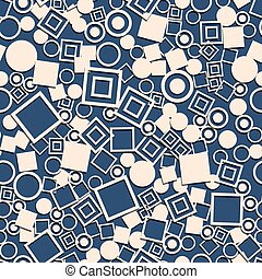 Abstract circles squares seamless pattern.  Decorative retro background.
