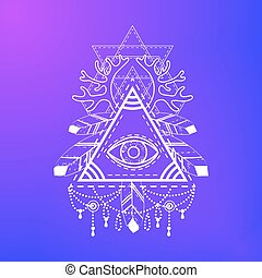 All-seeing eye pyramid symbol. Old school tattoo. Mystic...