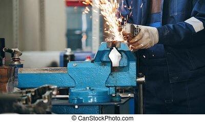 Circular saw sparkles -mechanic grinding metal detail...