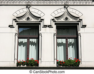 Old windows - Apartment building detail in Cologne, Germany....