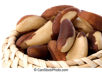 Brazil Nuts Isolated - Isolated macro image of Brazil nuts
