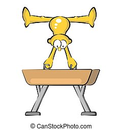 Artistic Gymnastics Athlete in Pommel Horse. Cartoon...
