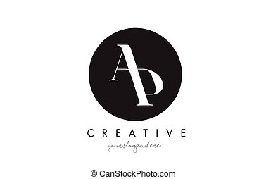 AP Letter Logo Design with Black Circle and Serif Font. - AP...