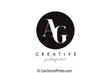 AG Letter Logo Design with Black Circle and Serif Font. - AG...