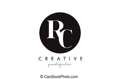 RC Letter Logo Design with Black Circle and Serif Font. - RC...