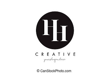HH Letter Logo Design with Black Circle and Serif Font. - HH...