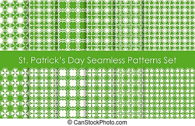 St Patricks Day Holiday seamless pattern set. Traditional shamrock lucky symbol.