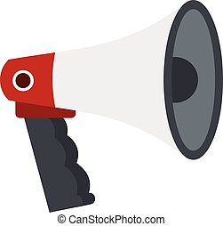 Red and white bullhorn public megaphone icon
