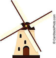 Windmill icon, flat style - Windmill icon in flat style...