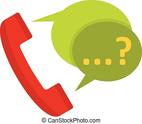 Phone with question mark speech bubble icon in flat style...