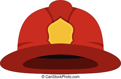 Red fireman helmet icon, flat style