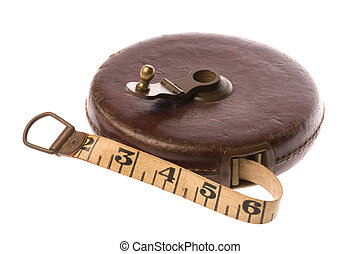 Vintage Measuring Tape Isolated - Isolated image of vintage...