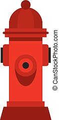 Red fire hydrant icon, flat style - Red fire hydrant icon in...