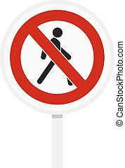 No pedestrian traffic sign icon, flat style - No pedestrian...