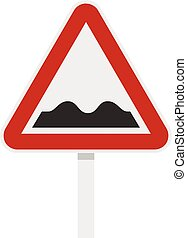 Bumpy road sign icon, flat style - Bumpy road sign icon in...